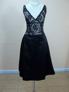 Impression Bridal Black/Ivory/Black Satin 1759 Formal Bridesmaid/Mob Dress Size 10 (M)