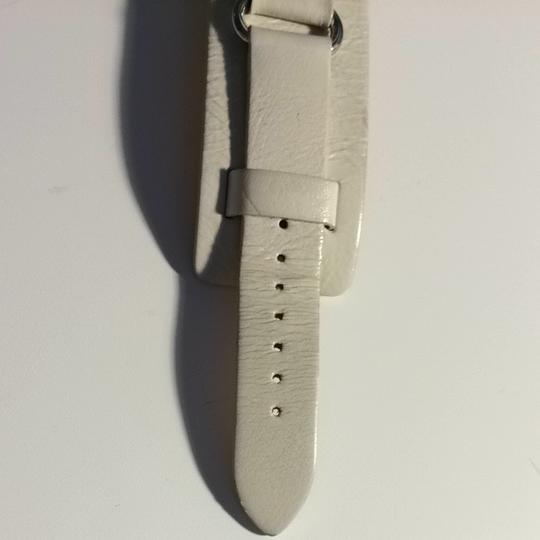 Fossil Fossil White Leather Silver Dial Watch
