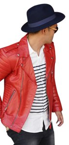 Mr Bern Leather Lambskin Balmain Saint Laurent Gucci Blood Red Leather Jacket