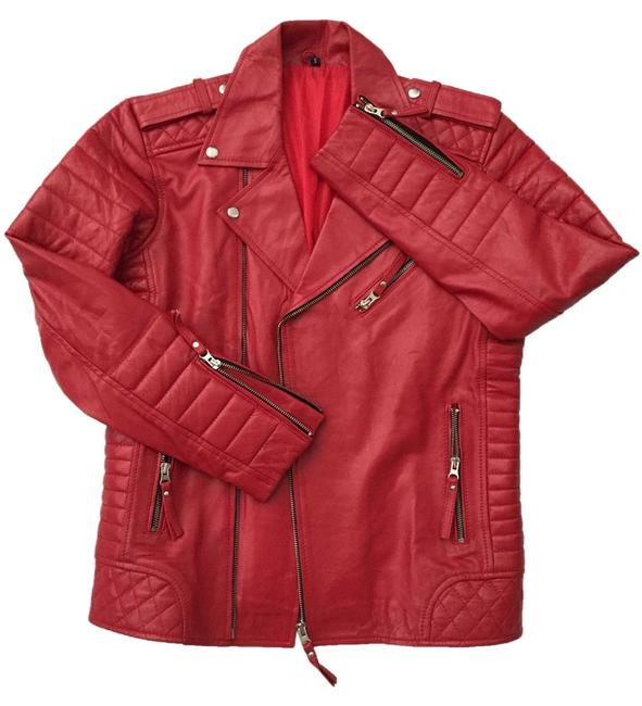 Mr Bern Lambskin Balmain Saint Laurent Gucci Blood Red Leather Jacket