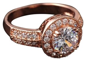 New Gorgeous Rose Gold AAA CZ Stones Engagment/Wedding Ring Sz 7