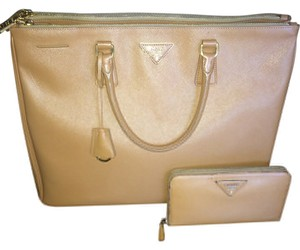Prada Genuine Leather Women Tote in Caramel