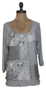 Anthropologie Patchwork Lace Heater Stretchy Top GRAY