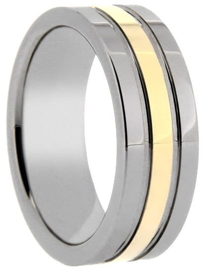 Portofino Gold Inlay Tungsten Inlaid IP Gold Ring 8 mm Sizes 5-13 Rings Are Made To Order List Price $299 Free Ship