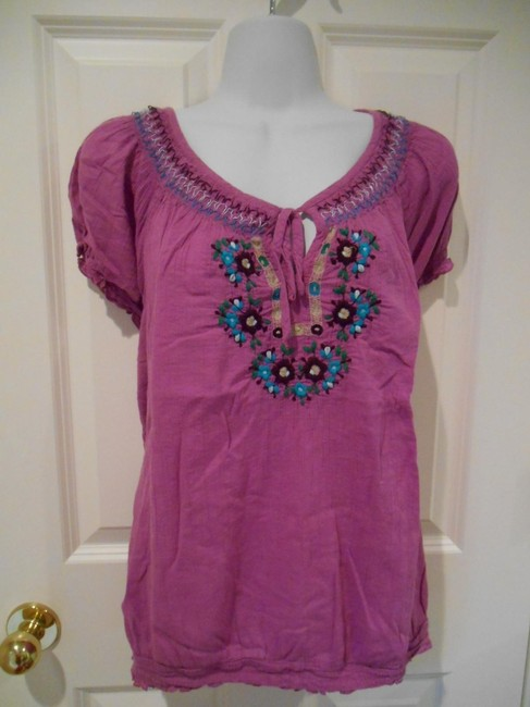 Old Navy Embroidered Artsy Edgy Comfort Shirt Purple 14 16 Xl Extra Large Cotton Tunic
