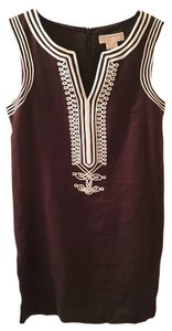 Michael Kors short dress Brown and White Linen Sleeveless Shift Embellished Embroidered on Tradesy
