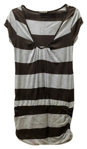 Laquette short dress Gray, Brown Striped Mini on Tradesy