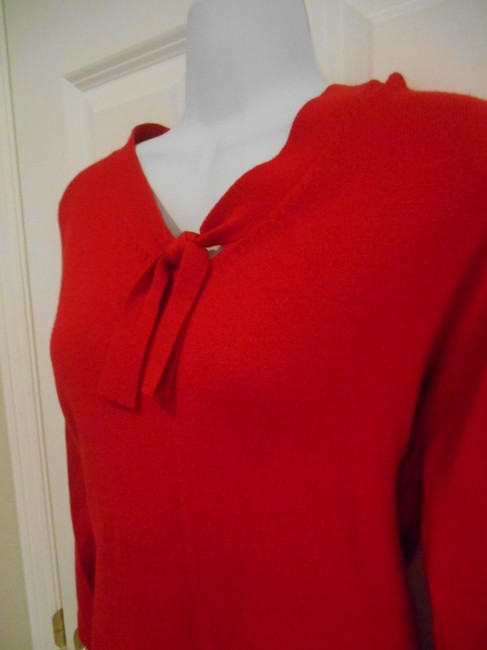 Sag Harbor Large Holiday Tie Neck Knit Fine Knit Shirt Shirt Dressy Office Holiday Party Small 12 10 Womens Small Regular Large Sweater