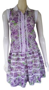 Anna Sui short dress Purple Skirt Set Violets Floral Pleated on Tradesy