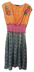 Anthropologie short dress Pink, Green, Orange, Off-White + accent colors Embroidered Excellent Condition on Tradesy