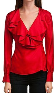 Elizabeth McKay Silk Holiday Party Top red