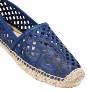 Tory Burch Espadrilles Beach Leather Greek Blue Flats