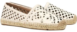 Tory Burch Espadrilles Leather Logo Ivory Flats
