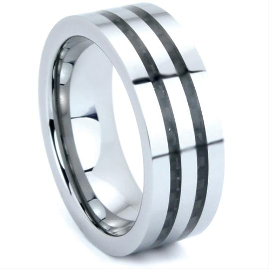 Tungsten Ring Double Carbon Fiber Inlay 8mm Sizes 5-15 Made To Order Free Ship