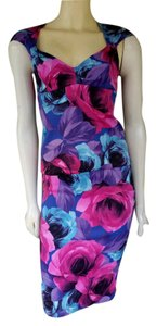 Karen Millen Pencil Skirt Sexy Floral Blue Pink Dress