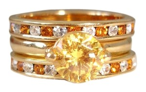Nordstrom triple stacked yellow crystal rings