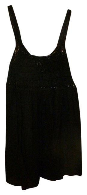 Moda International Crochet Empire Waist Boho Top Black