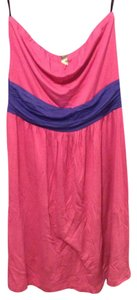 Lush short dress Pink Color Block Strapless on Tradesy