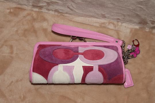 Coach COACH 7A50 Limited Edition Multicolor Pink Optic C Suede Clutch Case