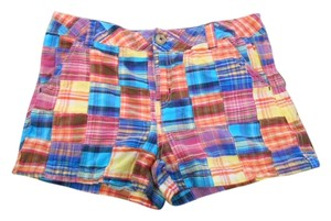 Justice Girls Girls 16 16r Small 28 4 6 Madras Cotton Summer Cruise Preppy Gold Golf Patchwork Pockets Zip Logo Shorts Mixed Bright Primary