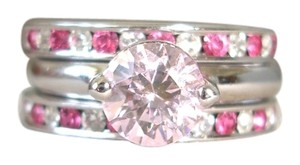 Nordstrom triple stacked pink crystal rings