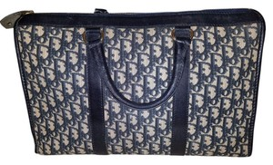 Dior Vintage Christian Navy, Beige Travel Bag