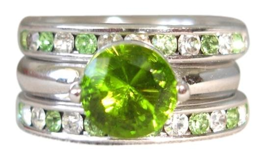 Nordstrom triple stacked green crystal rings