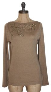 Lauren Ralph Lauren Sequin Embellished Camel Knit Long Sleeve Top BEIGE