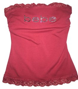 bebe Rhinestone Tube Top Fuschia
