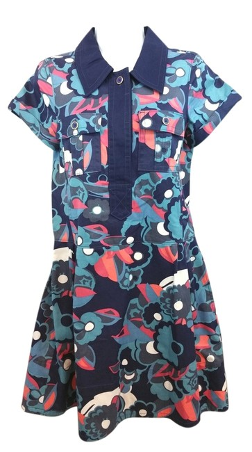 Item - Blue Turquoise Pink White Floral Print Sleeve Mid-length Short Casual Dress Size 4 (S)