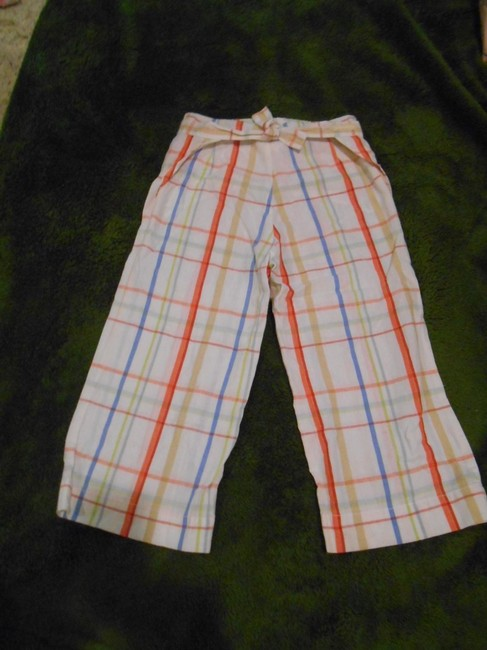 Oilily Cakewalk European Euro Boutique Euro 128 128 Us 8 8 Girls Plaid Tie Pant Pants Summer Summer Travel Preppy Unusual Fun Capris White with colors