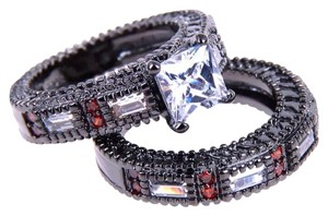 New Ruby & White Topaz & CZ Stones Black Gold Filled Wedding Ring Set Sz 6