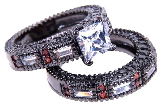 Red/White/Black New Ruby & Topaz & Cz Stones Gold Filled Wedding Set 6 Ring Image 1