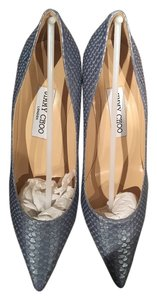 Jimmy Choo Agnes Snakeskin-effect Leather Blue Pumps