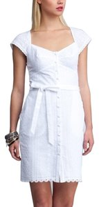 bebe short dress WHITE Summer Eyelet Floral Sheath on Tradesy