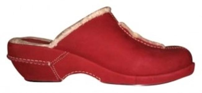 Item - Red Suede with Soft Trim Mules/Slides Size US 10