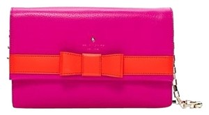 Kate Spade New York Neon Bright Leather Magnet Cover Shoulder Gold Snap Dust New With Tag Over The Shoulder 14-karat 14 Karat Pink and orange Clutch