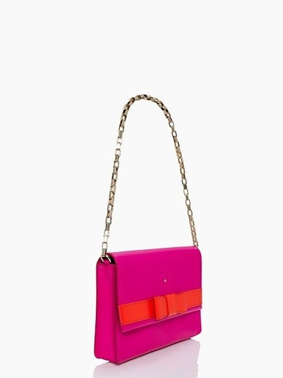 Kate Spade York Neon Bright Leather Magnet Cover Shoulder Gold Snap Dust New With Tag Over The Shoulder 14-karat 14 Karat 14k Pink and orange Clutch