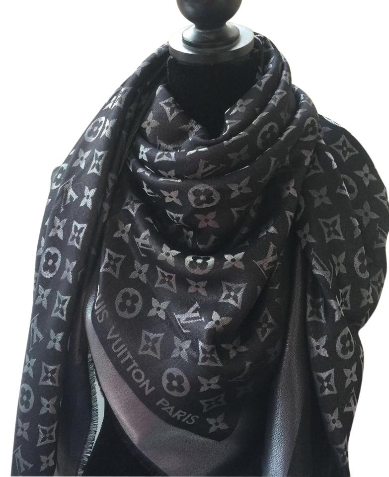 614aefd83 Louis Vuitton 100% Authentic Monogram black metallic reversible scarf shawl  with box Image 0 ...