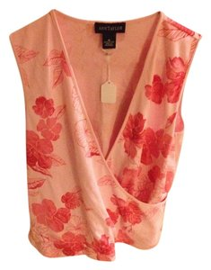 Ann Taylor Cotton Top Dark Pink/Light Pink