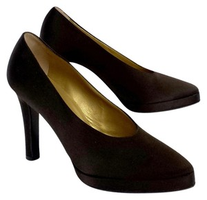 Saint Laurent Brown Satin Round Pointed Toe Pumps
