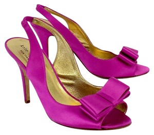 Kate Spade Fuchsia Satin Bow Slingback Sandals