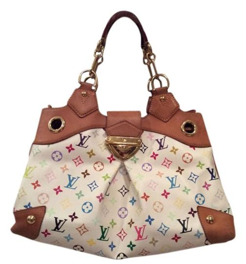 Louis Vuitton Ursula Suede Lining Made In France Gold Hardware Tote in White Multi color