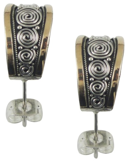 Island Silversmith Island Silversmith .925 Sterling Silver Stud Earrings w 18K Gold Accent 0601T *FREE SHIPPING*