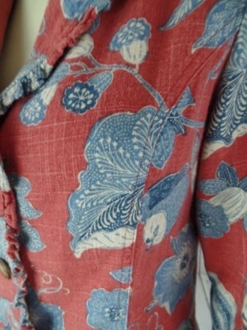 Other Alexis Avery Blazer Cotton Red Blue Beige Floral Unlined Ruffle Edges Boho