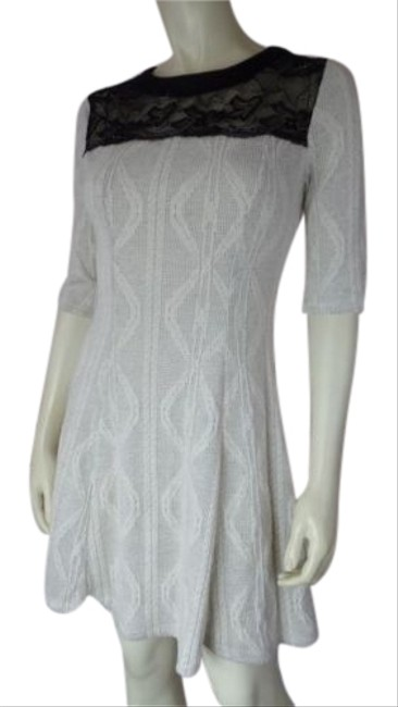 Monteau Anthropologie Dress Sweater Knit Stretch Blend Pointelle Skater Chic Image 1