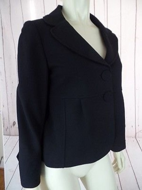 Ann Taylor Ann Taylor Blazer Black Rayon Nylon Spandex Stretch Lined Shorty Swing Retro