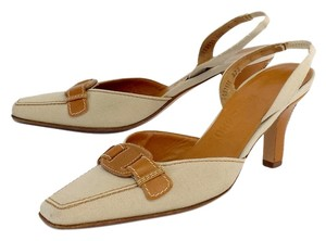 Salvatore Ferragamo Brown Biege Leather Slingbacks Sandals