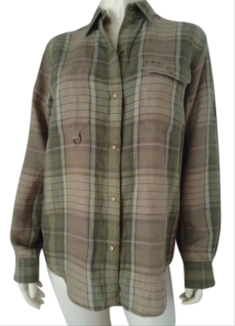 Ralph Lauren Linen Blouse Top Green Plaid Snap Front Roll Up Sleeves Sporty Image 0