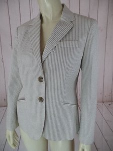 Talbots Talbots Petites Blazer White Pinstripe Cotton Nylon Blend Italian Fabric New